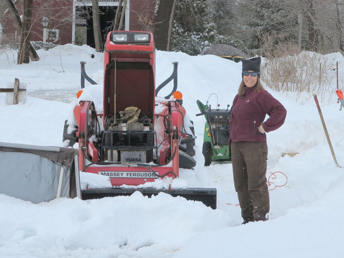 Susan doesn't let a little snow stop her (even if the tractor did conk out)