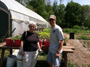 Long-time sharer Kathy Powers does much of our small greenhouse seeding and transplanting. Chris Ludwig has decided to volunteer his time every week after completing the required work hours.
